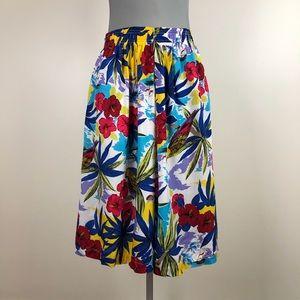 Pants - Vintage Tropical Print Culottes Skirt 1980s